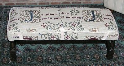 Antique Long Oak Stool  Low Bench William Morris Style Art And Crafts Covering