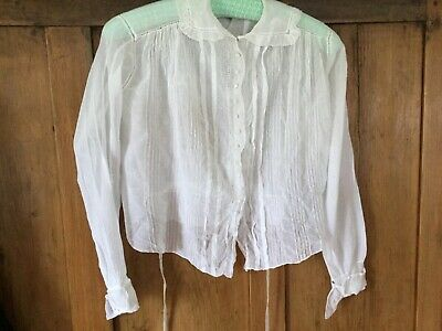 Antique c.1900 white blouse - voile pintucks, original buttons