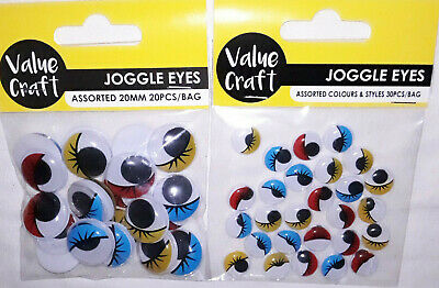50 Assorted Coloured Joggle/Wiggly/Wiggle Eyes with Lashes ~ 12mm & 20mm