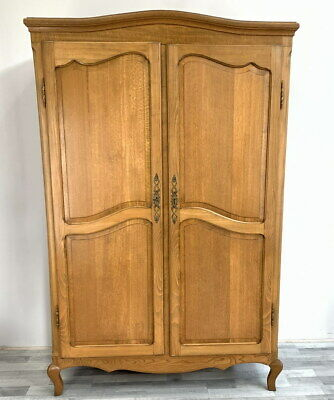 Louis XV Style Vintage French Carved 2 door oak Armoire Wardrobe