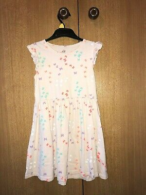 Girls H&M Light Pink Cap Sleeve Dress + Butterfly Pattern - 4-6 Years Old - Used