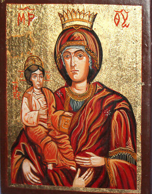 Virgin Mary and Christ child hand painted Orthodox icon