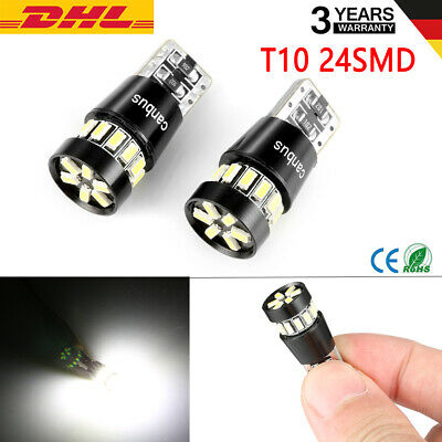 2X T10 24 SMD LED CANBUS Kennzeichenbeleuchtung Innenraum Lampe Birne 12V DHL DE