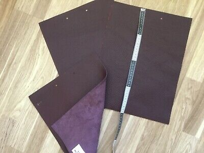 "Thick LEATHER OFF CUTS SQUARES 3 Bordeaux 12"" x 16"""