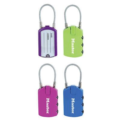 Pack of 2 x Master lock 4684TCOL - 2 in 1 Padlock and ID Tag Combo