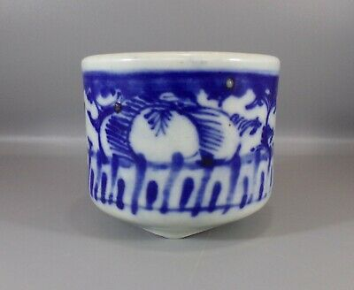 Antique Chinese Blue and White Porcelain Brush Pot Qing Dynasty