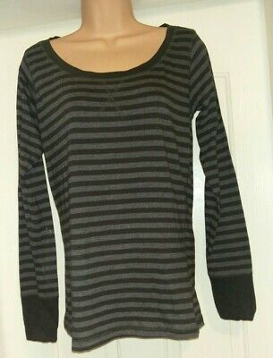 Red Herring Grey Striped Long Sleeved Casual  Stretch Cotton Top Size 14 New