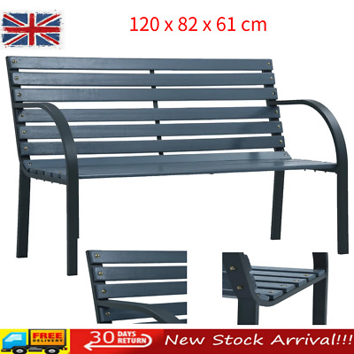 Outdoor Wooden 2 Seater Garden Bench Patio Furniture Park Grey Wood Seat Fence
