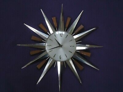 Vintage 1960's / 70's Metamec Starburst / Sunburst Wall Clock. Spares Or Repair.
