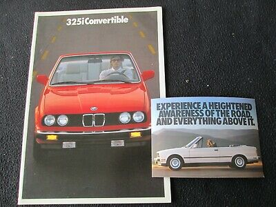 1987 BMW 325i Convertible Brochure E30 3 Series Conv't 1st year US Sales Catalog