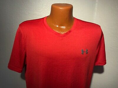 Mens Under Armour Heat Gear S/S Athletic T-Shirt Size Medium (M) Red - Poly