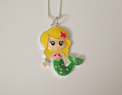 MERMAID Unwanted Large Charm NECKLACE 16 Inch Snake Chain + Free Gift Bag