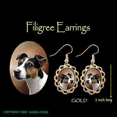 JACK RUSSELL TERRIER DOG Smooth Tri Color - GOLD FILIGREE EARRINGS