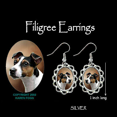 JACK RUSSELL TERRIER DOG Smooth Tri Color - SILVER  FILIGREE EARRINGS