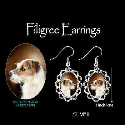 JACK RUSSELL TERRIER DOG Wire Fawn - SILVER  FILIGREE EARRINGS Jewelry
