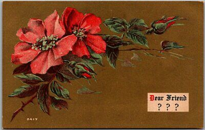 "Vintage c1910s Greetings Postcard ""Dear Friend ???"" Red Pansy Flowers UNUSED"
