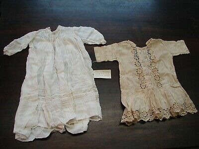 2 Antique 1920S Christening Baptism Gown Dress Embroidery Lace