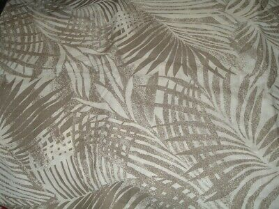 Vtg 80s Wamsutta Big Brown Tan Tropical Leaves On Cream Sew Fabric 4Yx43 #mfb