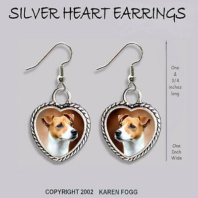 JACK RUSSELL TERRIER DOG Smooth Fawn - HEART EARRINGS Ornate Tibetan Silver