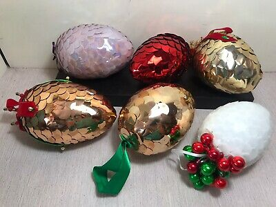 Walco Holiday PANORAMA EGG Pixie Bunny Vtg Sequin Bead Easter Ornament Craft Kit