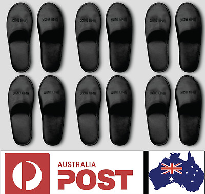 10/20/50 Pairs One Time Disposable Closed Toe Black Hotel Slippers Air BnB Use