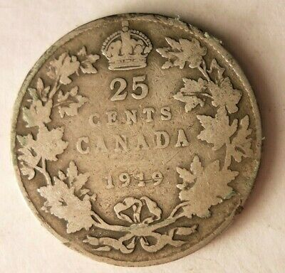 1919 CANADA 25 CENTS - Uncommon Date Silver Coin - Lot #F23