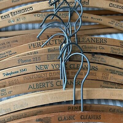 Lot Of 20 Vintage Wooden Advertising Hangers Hotels Cleaners