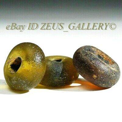 Ancient Colored Glass Beads Yellow, Red Disc Shaped Ex Bonhams London UK 2004