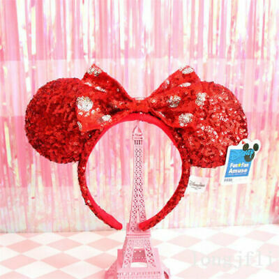New Disney Parks Minnie Mouse Ears Red Sequins White spot Plush Headband