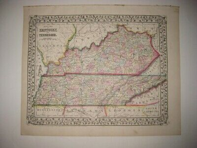 Antique 1872 Kentucky Tennessee Mitchell Dated Handcolored Map Grape Border Fine