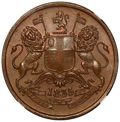 1835 (M) India East India Company 1/2 Half Anna Coin - NGC MS 62 BN - KM# 447.1