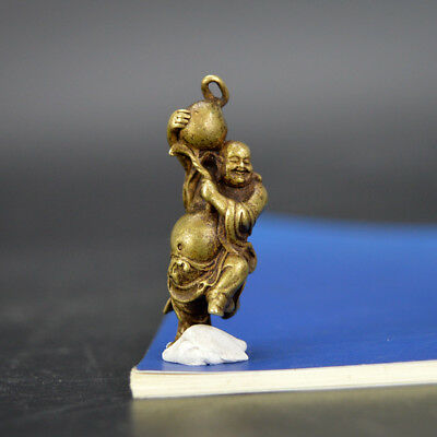Chinese old collection handwork bronze Cloth bag Maitreya Buddha statue Pendant