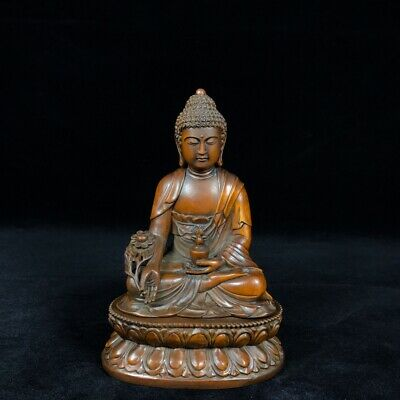 "7"" China old antique Boxwood wooden handcarved Medicine Buddha statue"