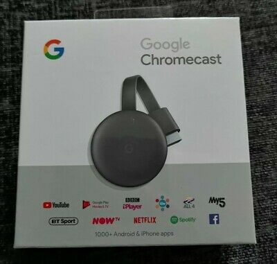 Google Chromecast (3rd Generation) Charcoal NEW & SEALED + FREE P&P