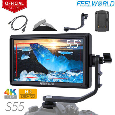"""FEELWORLD S55 5.5"""" Camera Field DSLR Monitor with Tilt Arm Sunshade fits for DJI"""