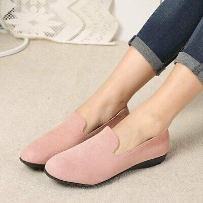 Women Slip On Suede Loafers Ladies Flat Round Toe Soft Leisure Shoes Casual
