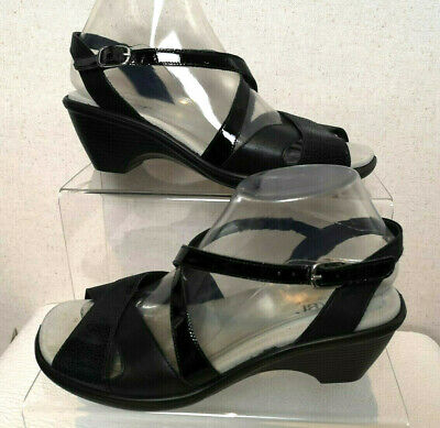Hotter Comfort Concept Women's Black Slingback Wedge Sandals Shoes UK 5 - C351