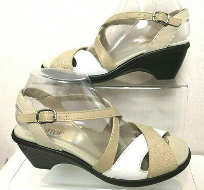 HOTTER Comfort Concept Women's Beige&White Wedge Strappy Sandals Shoes UK 5-C352