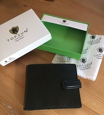 Topsum London RFID Real VT Leather Wallet With Zip Coin Purse  Black 4003 New