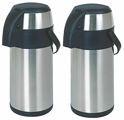 2 X Hot Cold Airpot Flask Thermos Tea Coffee Drink S/S Pump Action Vacuum