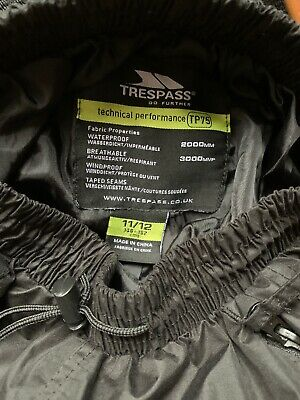 Trespass Waterproof Overtrousers 11-12 Yrs TP75