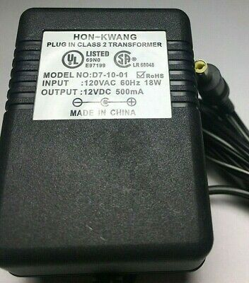 Hon-Kwang D7-10-01 12V Class 2 AC DC Plug in Transformer Compatible with  D12-50