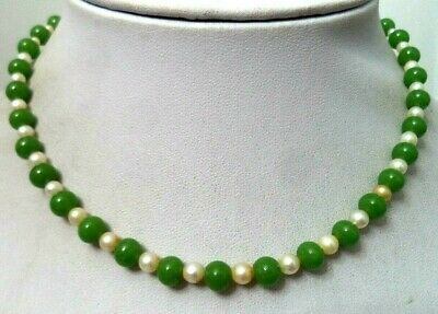 """Stunning Antique Estate Signed Sterling Silver Jade & Pearl 14"""" Necklace! G149W"""