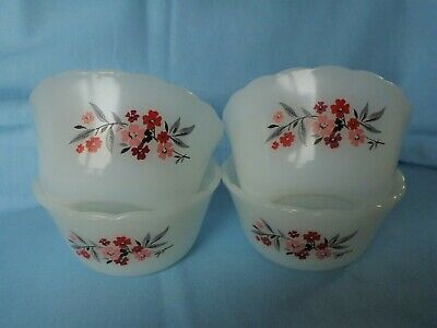 Four Fire King Anchor Hocking Primrose Pattern Custard Cups With Scalloped Edge