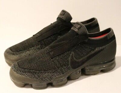 RARE! NIKE AIR VAPORMAX FLYKNIT SE MENS 10.5 Triple Black Laceless AQ0581-001