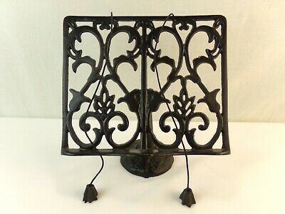 Black Iron Book Stand Holder Recipe Cook Book Bible Display Weights Adjustable