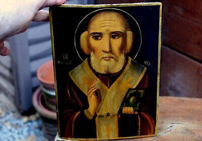 Antique 19th Century Russian Hand Painted Wood Orthodox Icon Depicting A Saint