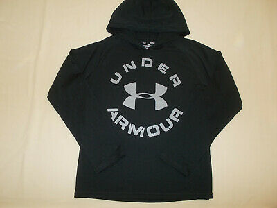 Under Armour Heat Gear Black Long Sleeve Lightweight Hoodie Boys Large Excellent