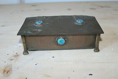 Scarce A E Jones Arts & Crafts Copper Box/Casket With Ruskin Cabochon's Superb