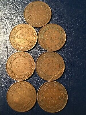 Canada Large Cent Lot Of 7- 1912, 1917, 1918, 1918, 1919, 1919, 1920